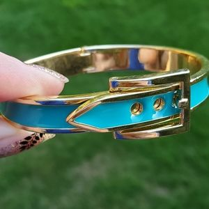 CUTE PREPPY BLUE GOLD TONE HINGED BRACELET